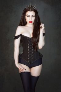 Takara Corset In Black Twill With Silver Spikes